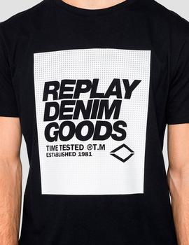 Camiseta Replay negra cuadro blanco Denim Goods