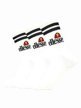 Calcetines Ellesse blancos rayas negras pack 3