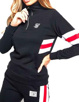 Sudadera SikSilk chica Sports Luxe Track Top negra
