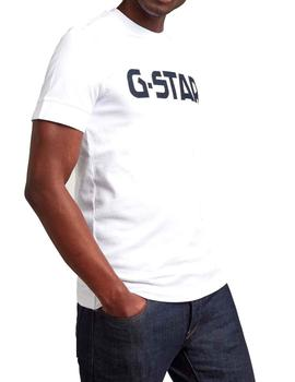 Camiseta G Star Raw Slim blanca lisa para hombre